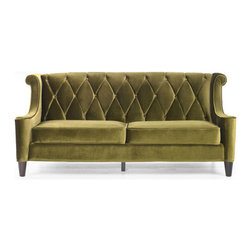 Modern Green Velvet Sofa - This one definitely requires a commitment to color, but how beautiful is this couch?