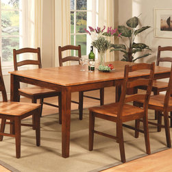"""East West Furniture - Henley 7Pc Set- Rectangular Table and 6 Wood Seat Chairs - Henley 7Pc Set- Rectangular Table with 18"""" Butterfly Leaf and 6 Wood Seat Chairs.; Henley dining sets feature beautiful Asian solid wood with an espresso and cinnamon color.; Opt for a beautiful upholstered design for the seating to match the dining area.; Chairs feature a sophisticated """"S"""" shape for maximum comfort when seated.; Kitchen dinette set offers plenty of space for a large family.; The tabletop is a lighter cinnamon color with self-storage butterfly leaf.; The new two-tone color of the table & chairs are the perfect complement to a traditional living space.; Weight: 215 lbs; Dimensions: Table: 54-72""""L x 42""""W x 30""""H; Chair: 18.5""""L x 18""""W x 38.5""""H"""