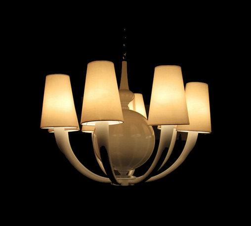Modern Glass Tube and 6/8 Fabric Shades Chandelier 11699 -