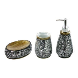 Gedy - Myosotis Decorative Bathroom Accessory Set - Stylish, decorative bathroom accessory set which includes toothbrush holder, soap dispenser, and soap dish.
