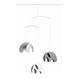 Flensted Mobiles - Olephant Mobile - This mobile is made by circles. The mobile is 3-dimensional and can be seen from below. With the ears of the elephant you open the mobile and keep it together with the trunk and tail.