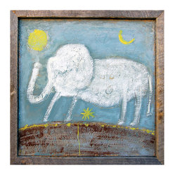 Kathy Kuo Home - Baby Elephant Hand Drawn Gray Blue Reclaimed Wood Wall Art - Large - Never forget that color and childlike whimsy have an important place in home design. This sweet, folksy white elephant is prancing on a field of bright blue sky and brown earth, with pops of yellow. It's finished in a frame handmade from reclaimed wood for more sweet vintage appeal.