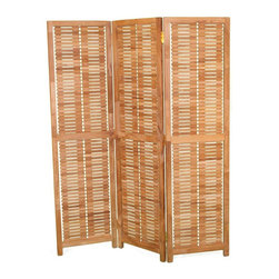 Jewels of Java - Teak Privacy Screen - Mortise and tenon construction. Plantation grown teak. Warranty: Three years. Made from solid teak. 4 in. L x 57 in. HAdd some shade, provide for a private area, or just add some style and elegance to any setting with our Teak Privacy Screen. This privacy screen has three panels approximately six feet tall that can be arranged into multiple configurations.