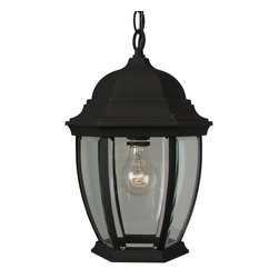 Exteriors - Exteriors Cast Aluminum Bent Glass Outdoor Hanging Light X-50-182Z - The Aluminum Bent Glass Outdoor Hanging Light has a finish that is one of the fastest growing popular ones thanks to its maintenance-free characteristics and durability. This one-light hanging light is surrounded by Clear Beveled glass panes.