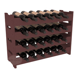 24 Bottle Mini Scalloped Wine Rack in Pine with Walnut Stain - Stack four 6 bottle racks for proper storage of 24 wine bottles. This rack requires light hardware for assembly and is ready to use as soon as it arrives. Makes the perfect gift and stores wine on any flat surface.