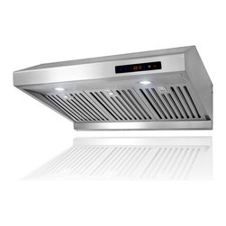 "AKDY - AKDY AK-Z1802SF 30"" Under Cabinet Range Hood Stainless Steel Kitchen Vent Hood - This AKDY 1802 30"" under cabinet range hood removes cooking odors from your kitchen quickly using its 3-speed, 900 CFM centrifugal exhaust fan. The stainless steel baffle filter helps eliminate grease from the air and is washable for easy cleanup. This beautiful range hood is strong, dependable, powerful and efficient."