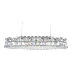 Schonbek - Plaza Stainless Steel 24-Light Clear Spectra Crystal Pendant Light, 22.5W x 7H x - -Spectra Crystal: Spectra Crystal is cut Swarovski crystal with reliable quality. Spectra Crystal has been a registered trademark since 1999 and offers the most important cuts in clear crystal.  - Plaza, with its dense and intricate crystal weave, is infinitely brilliant. Square, rectangular and octagonal crystals create a mesmerizing dance of light. Also Made with Swarovski Elements.  -Clear Spectra Crystal  - Wire Length (in inches): 144  - Fixture is cable hung  - Light Source: Incandescent Bulb  - Bulbs Included  - Chain Length (in inches): 144  - Uses standard line volt dimmer  - Some assembly required  - Lead free crystal  - For shipping outside of USA, please contact Bellacor customer service  - Cleaning and Care Instructions: Every Schonbek product is of heirloom quality and will last for generations. To ensure it retains its brilliance and splendor for years to come, proper care and regular cleaning are necessary. It is recommended that Schonbek products, and particularly their crystal trim, be lightly dusted with a feather or lambswool duster, or soft brush every two months, or whenever it appears dull or dusty. Consult the fixtures trim diagram for detailed cleaning instructions list of approved cleaning solutions. Schonbeck fixtures should never be subjected to any chemical cleaning agents. - See packaging insert for warranty information. Schonbek  - 6680A