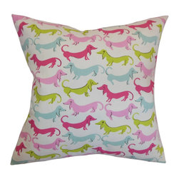 """The Pillow Collection - Ione Animal Print Pillow Bubblegum - Liven up your room with this funky decor pillow. This throw pillow comes with a colorful animal pattern with dogs as a motif. With pops of pink, green, blue and white, this square pillow is a bright statement piece to add in your home. Match this decor pillow with other animal prints from our pillow collection. The 18"""" pillow is American-made and made from 100% high-quality cotton fabric. Hidden zipper closure for easy cover removal.  Knife edge finish on all four sides.  Reversible pillow with the same fabric on the back side.  Spot cleaning suggested."""