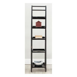 Safavieh Asher Leaning Etagere - Black - Built from pine and finished in black, the Safavieh Asher Leaning Etagere - Black is a sturdy and easy-to-coordinate addition to any room. This lovely etagere provides five shelves in ascending size from top to bottom, making an interesting style statement in your home.About SafaviehConsidered the authority on fine quality, craftsmanship, and style since their inception in 1914, Safavieh is most successful in the home furnishings industry thanks to their talent for combining high tech with high touch. For four generations, the family behind the Safavieh brand has dedicated its talents and resources to providing uncompromising quality. They hold the durability, beauty, and artistry of their handmade rugs, well-crafted furniture, and decorative accents in the highest regard. That's why they focus their efforts on developing the highest quality products to suit the broadest range of budgets. Their mission is perpetuate the interior furnishings craft and lead with innovation while preserving centuries-old traditions in categories from antique reproductions to fashion-forward contemporary trends.