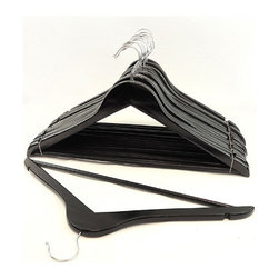 None - Black Wood Suit Hangers (Set of 96) - Keep your suits,dresses,sweaters and safe and wrinkle-free in your closet with this set of wood hangers. These versatile black hangers feature cut-out notch for women's camisole,dress and skirt straps.
