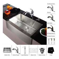 Kraus - Kraus 30 inch Farmhouse Single Bowl Stainless Steel Kitchen Sink with Chrome Kit - *Add an elegant touch to your kitchen with unique Kraus kitchen combo