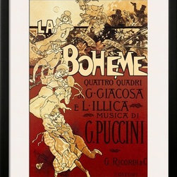 Artcom - La Boheme, Musica di Puccini by Adolfo Hohenstein - La Boheme, Musica di Puccini by Adolfo Hohenstein is a Framed Art Print set with a SOHO Black wood frame and a Polar White mat.