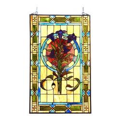 None - Tiffany Style Floral Design Window Panel/Suncatcher - Fill your room with light and color with this exquisite Tiffany style window panel. Made from metal and art glass,this gorgeous piece features an Iris bouquet with tones of beige,amber,blue,green and red.