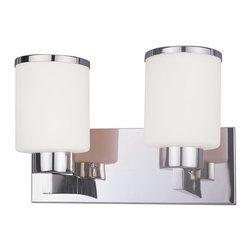 Z-Lite - Z-Lite 313-2V Cosmopolitan 2 Light Bathroom Vanity Light with White Glass Shade - Features: