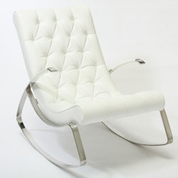 Tufted Rocking Chair - White - The Tufted Rocking Chair - White is the perfect blend of comfort and contemporary style. This rocking chair features a unique, polished stainless steel rocking frame and cushioned, tufted white leather seat and back. About Best Selling Home Decor Furniture LLCBest Selling Home Decor Furniture LLC is a US-based company dedicated to providing you with a wide variety of fine furniture. With sales and manufacturing offices in Europe and China, as well as the ability to ship to anywhere in the world, no one is excluded from bringing these lovely pieces home. From outdoor to indoor furniture, children's furniture to ottomans and home accessories, all your needs will be met with attractive, high quality products that will last.