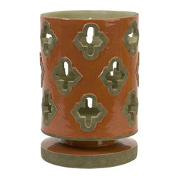 Imax - iMax Chapala Large Cutwork Lantern X-56181 - The large Chapala cutwork lantern has a traditional Spanish mission style in an energetic orange finish. Holds pillar candles.