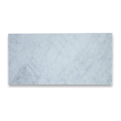 Stone Center Corp - Carrara White Marble Subway Tile 12x24 Honed - Premium Grade Carrara Marble Italian White Bianco Carrera Honed 12 x 24 Wall & Floor Tiles are perfect for any interior/exterior projects such as kitchen backsplash, bathroom flooring, shower surround, countertop, dining room, hall, lobby, corridor, balcony, terrace, spa, pool, etc. Our large selection of coordinating products is available and includes hexagon, herringbone, basketweave mosaics, 12x12, 18x18, 24x24 tiles, moldings, borders, and more.