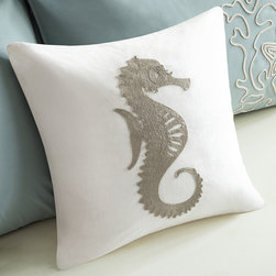 """Harbor House - Harbor House Sarah Seahorse Cotton Throw Pillow - The Harbor House Sarah Bedding Collection creates serenity throughout your home. This 16x16"""" square decorative pillow features a cotton faux linen white background with brown seahorse motif embroidery."""