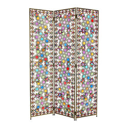 Oriental Furniture - 5 1/2 ft. Tall Flowers and Beads Room Divider - Beautiful and colorful see through metal frame panel screen with attractive flower petal and snow flake decorations. Bright faux cut glass and faux cut crystal inlay in wrought metal designs catch light to create a distinctive and elegant display. Practical and lovely shabby chic style decor accessory built to last.