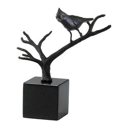 Cyan Design - Cyan Design Bird on Branches Sculpture - A beautiful bird sits, poised and ready on the branch in this Cyan Design sculpture. Bird on Branches features a branch that stems outward from a simple cubic base, which is made from dark toned granite. An iron body and Old World finish give it a polished finished look.