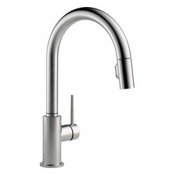 Delta Faucet - Trinsic Pull-Down Faucet Arctic Stainless - 9159-AR-DST Trinsic 1-Handle Pull-Down Sprayer Kitchen Faucet in Arctic Stainless Featuring MagnaTite Docking