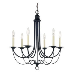 Sea Gull Lighting - Plymouth Blacksmith  Six-Light Chandelier - - Material: Steel  - Bulb Type: Candelabra B Torpedo  - Height with Chain: 64.5  - Wire/Cord Length: 120  - Wire/Cord Color: Black  - Chain Length: 36  - Connection: Center Lock-Up Sea Gull Lighting - 31294-839