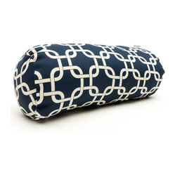 Indoor Navy Blue Links Round Bolster