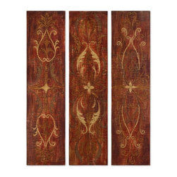 Uttermost - Uttermost Elegant Panels 60x15 Wall Art (Set of 3) - This vibrant artwork is hand painted on crackled canvas, with an antiqued glaze, that is stretched and mounted on hardbacks. Due to the handcrafted nature of this artwork, each piece may have subtle differences.