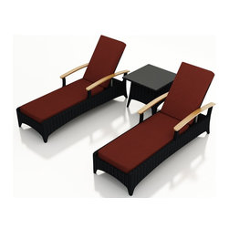 Harmonia Living - Arbor 3 Piece Modern Outdoor Reclining Chaise Lounge Set, Henna Cushions - Table for two. Create the perfect escape on your deck or patio with this three-piece set. It includes two reclining chaises and an end table to hold your morning coffee or 5- o'clock cocktail. Each piece is made of high-density polyethylene that weathers the elements beautifully.