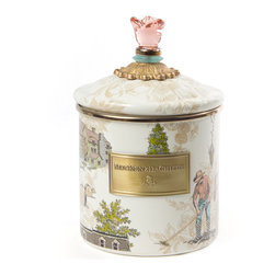Aurora Enamel Canister - Small   MacKenzie-Childs - Step into the kitchen for an escape to our idyllic Finger Lakes farm. A pink glass rose crowns the top of each lidded piece as a reminder of our ever-expanding gardens. Aurora Enamelware is gorgeous all around.