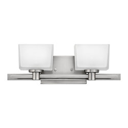 Hinkley Lighting - Taylor Double Wall Sconce - Taylor features Hinkley's invisi-mount system where all mounting hardware is hidden on the back plate. Brushed Nickel finish with tapered rectangular white etched glass.Back plate dimensions: 7.75 in. W x 4.75 in. H. Extension: 5.5 in.