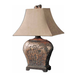 Uttermost - Uttermost Xander Table Lamp in Atlantis Bronz - Shown in picture: Atlantis Bronze This attractive lamp has a hand applied silver leaf finished with a semi-transparent brown glaze with taupe gray antiquing. The sueded textile shade is a rectangle bell.