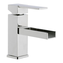 "Waterfall Bathroom Sink Faucet By Remer - This stylish waterfall bathroom sink faucet is made of polished chrome brass. Single hole faucet features and lever style handle. Faucet is designed in Italy for premium design. Faucet does not include a pop-up waste. Spout height: 6.1"" Spout reach: 5.43"""