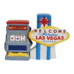 WL - 3.75 Inch Las Vegas Sign and Slot Machine Salt and Pepper Shakers - This gorgeous 3.75 Inch Las Vegas Sign and Slot Machine Salt and Pepper Shakers has the finest details and highest quality you will find anywhere! 3.75 Inch Las Vegas Sign and Slot Machine Salt and Pepper Shakers is truly remarkable.