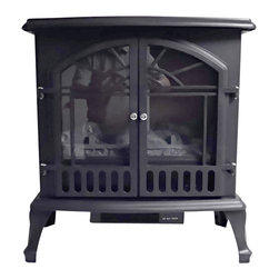 Proman Products - Proman Products Aspen 23 Inch Electric Wood Fireplace - Free Standing in Black - Aspen collection electric wood burning stove s2325 with log fire effect, free standing, 750/1500W, 23W x 25H x 11D, black color, 27 lbs