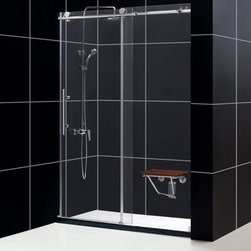 "DreamLine - DreamLine SHDR-61607610-08 Enigma-X Shower Door - DreamLine Enigma-X 56 to 60"" Fully Frameless Sliding Shower Door, Clear 3/8"" Glass Door, Polished Stainless Steel Finish"