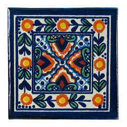 Mexican Artisans - Flower Talavera Tiles, Box of 15 - With their charming folk art pattern and bright, bold colors, these Talavera tiles make a delightful accent for your kitchen, bathroom, patio or wherever you want to add style with tiles. Handmade in Mexico, this particular pattern will bring out the blue in your chosen setting.