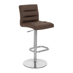 Zuri Furniture - Brown Lush Adjustable Height Bar Stool - The name says it all. From the sumptuously padded faux leather seat to the sleek brushed stainless steel frame and footrest, Lush combines structure with style. A sturdy circular base with rubber floor guard in addition to a gas lift mechanism to enable height adjustment. Weight capacity of 275 lbs.