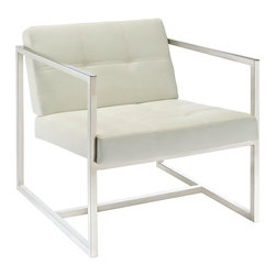 """LexMod - Hover Lounge Chair in White - Hover Lounge Chair in White - Embrace mid-century elements with this welcoming reception seating chair. Hover is a modern chair, but not for the typical reasons. Its padded vinyl buttoned seat and back, and geometric stainless steel frame, truly develop space and form in an innovative way. Hover is perfect both for those offices looking to impress new clients, and for anyone who ever dreamed of stationary flight. Set Includes: One - Hover Modern Reception Chair Modern Guest Reception Chair, Padded Vinyl Seat and Back with Buttons, Stainless Steel Frame Overall Product Dimensions: 29""""L x 30.5""""W x 27""""H Seat Height: 16""""""""H - Mid Century Modern Furniture."""