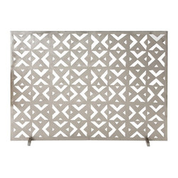 Arteriors - Landry Screen - Inspired by an ancient tribal motif, this geometric fireplace screen brings a fresh look to the hearth, and the brushed nickel works well in both traditional and modern interiors. Decorative use only.