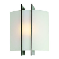 Lite Source - Lite Source LS-1673 Wall Washer Sconce from the Checks Collection - *Wall LampClean and crisp, this wall sconce is dynamic with a curved frosted glass shade and polished steel bands for support. The lamp easily lights a hallway. A.D.A. Compliant.60W Incandescent B Type Bulb(Bulb Included)E-12 Socket