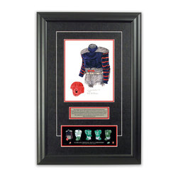 "Heritage Sports Art - Original art of the CFL 1936 Saskatchewan Roughriders uniform - This beautifully framed piece features an original piece of watercolor artwork glass-framed in an attractive two inch wide black resin frame with a double mat. The outer dimensions of the framed piece are approximately 17"" wide x 24.5"" high, although the exact size will vary according to the size of the original piece of art. At the core of the framed piece is the actual piece of original artwork as painted by the artist on textured 100% rag, water-marked watercolor paper. In many cases the original artwork has handwritten notes in pencil from the artist. Simply put, this is beautiful, one-of-a-kind artwork. The outer mat is a rich textured black acid-free mat with a decorative inset white v-groove, while the inner mat is a complimentary colored acid-free mat reflecting one of the team's primary colors. The image of this framed piece shows the mat color that we use (Red). Beneath the artwork is a silver plate with black text describing the original artwork. The text for this piece will read: This original, one-of-a-kind watercolor painting of the 1936 Saskatchewan Roughriders uniform is the original artwork that was used in the creation of this Saskatchewan Roughriders uniform evolution print and thousands of other Saskatchewan Roughriders products that have been sold across North America. This original piece of art was painted by artist Nola McConnan for Maple Leaf Productions Ltd. Beneath the silver plate is a 3"" x 9"" reproduction of a well known, best-selling print that celebrates the history of the team. The print beautifully illustrates the chronological evolution of the team's uniform and shows you how the original art was used in the creation of this print. If you look closely, you will see that the print features the actual artwork being offered for sale. The piece is framed with an extremely high quality framing glass. We have used this glass style for many years with excellent results. We package every piece very carefully in a double layer of bubble wrap and a rigid double-wall cardboard package to avoid breakage at any point during the shipping process, but if damage does occur, we will gladly repair, replace or refund. Please note that all of our products come with a 90 day 100% satisfaction guarantee. Each framed piece also comes with a two page letter signed by Scott Sillcox describing the history behind the art. If there was an extra-special story about your piece of art, that story will be included in the letter. When you receive your framed piece, you should find the letter lightly attached to the front of the framed piece. If you have any questions, at any time, about the actual artwork or about any of the artist's handwritten notes on the artwork, I would love to tell you about them. After placing your order, please click the ""Contact Seller"" button to message me and I will tell you everything I can about your original piece of art. The artists and I spent well over ten years of our lives creating these pieces of original artwork, and in many cases there are stories I can tell you about your actual piece of artwork that might add an extra element of interest in your one-of-a-kind purchase."