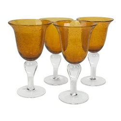 Artland Inc. Iris Amber Goblet Glasses - Set of 4 - The elegant Artland Inc. Iris Amber Goblet Glasses - Set of 4 will make quite an impression at your next dinner party, thanks to its warm amber color, clean lines, and graceful contours. Allover random bubble patterns play up the set's artisan look and feel, making it the right choice for formal occasions or everyday use. Dishwasher-safe.