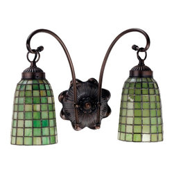 Meyda Tiffany - Meyda Tiffany Meyda Originals Wall Sconce in Mahogany Bronze - Shown in picture: Terra Verde 2 Lt Wall Sconce; Honeydew Green Glass Cascades In A Geometric Grid On Elongated Hand Crafted Shades Which Are Suspended From The Gracefully Curved Arms Of This Twolight Wall Sconce Finished In Mahogany Bronze.
