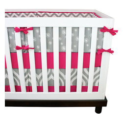 "Modified Tot - Baby Bedding Crib Set, Pink and Gray - This timeless pink and gray color combination gets a modern update with chevrons and sweet dandelions.  The three piece set includes bumpers with hand-stitched fabric ties and contrasting piping, a fitted sheet with elastic all the way around and a four-sided skirt with a 15"" drop. Bumpers are created in six separate pieces for easy transition to a toddler bed, they measure 1"" thick and 10"" high. All items are proudly made in the USA. All products are made to order."