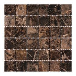 Dark Emperador 2x2 Square Polished Marble Mosaic - Finish: Polished