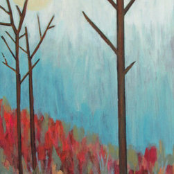 Fall Mists (Original) by Susan Spohn - The vibrant colors of fall, muted a bit by a mid-morning misty fog... A contemporary landscape painting created using acrylic paints. The intense reds and orange shrubs and grasses play with the blue mists and the muted green in the landscape.