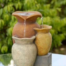 None - Muiti Colorful Pots Tabletop Water Fountain - The Muiti Colorful Pots design of this tabletop water fountain, creates a distinguished look for your home. The poly resin construction is lightweight and easy to place inside or out for convenience.