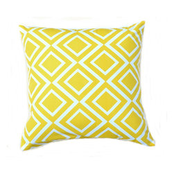 """5 Surry Lane - Indoor Outdoor Summer Decorative Modern Geometric Diamond Home Pillow, Yellow - Indoor outdoor modern geometric diamond pillow.  100% soft polyester.  Withstands UV Rays.  Resistant to water, mold and mildew.  Hidden zipper closure.  Down insert included.   18x18"""""""