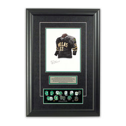 """Heritage Sports Art - Original art of the NHL 2007-08 Dallas Stars jersey - This beautifully framed piece features an original piece of watercolor artwork glass-framed in an attractive two inch wide black resin frame with a double mat. The outer dimensions of the framed piece are approximately 17"""" wide x 24.5"""" high, although the exact size will vary according to the size of the original piece of art. At the core of the framed piece is the actual piece of original artwork as painted by the artist on textured 100% rag, water-marked watercolor paper. In many cases the original artwork has handwritten notes in pencil from the artist. Simply put, this is beautiful, one-of-a-kind artwork. The outer mat is a rich textured black acid-free mat with a decorative inset white v-groove, while the inner mat is a complimentary colored acid-free mat reflecting one of the team's primary colors. The image of this framed piece shows the mat color that we use (Hunter Green). Beneath the artwork is a silver plate with black text describing the original artwork. The text for this piece will read: This original, one-of-a-kind watercolor painting of the 2007-08 Dallas Stars black jersey is the original artwork that was used in the creation of this Dallas Stars uniform evolution print and tens of thousands of other Dallas Stars products that have been sold across North America. This original piece of art was painted by artist Nola McConnan for Maple Leaf Productions Ltd. Beneath the silver plate is a 3"""" x 9"""" reproduction of a well known, best-selling print that celebrates the history of the team. The print beautifully illustrates the chronological evolution of the team's uniform and shows you how the original art was used in the creation of this print. If you look closely, you will see that the print features the actual artwork being offered for sale. The piece is framed with an extremely high quality framing glass. We have used this glass style for many years with excellent results. We pac"""